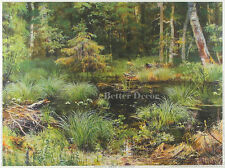 """16"""" PRINT Spring in Forest,1892 by Shishkin ANTIQUE MUSEUM ART"""