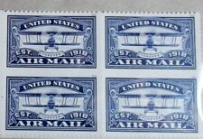 Block of 4,FOREVER 2018 USA #5281 United States Air Mail 1918,Blue Mint NH