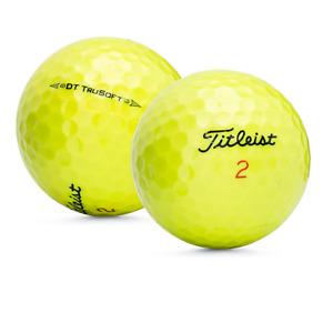 3 Dozen Titleist DT True Soft Yellow Recycled Golf Balls Near Mint 4A + Tees