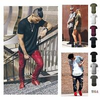 Mens Basic Extended Long T- Shirt Elongated Fashion Casual Crew Neck Hip Hop Tee