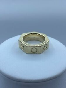 9ct Gold Nut & Screw Ring For Men - Size P1/2, 20.3g