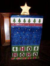 STAR FILLED NIGHTS CHRISTMAS COOKIE JAR BLUE GOLD GREEN TREES HO HO HO