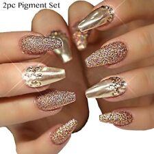 2pc Nail Pigment Set GOLD POWDER & GLITTER Mirror Effect Pigment Pearl Mermaid
