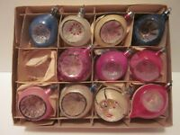 11 Vintage Poland Fantasia Glass Indent Teardrop Christmas Tree Ornaments Pink
