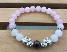 8mm rosequartz White jade bracelet Gemstone Healing Tibet silver Wrist Chakas