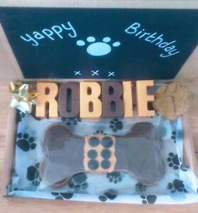 🐾 Dog Treat Gift Box Birthday🐾 Christmas Personalised Chocolate coated cookie