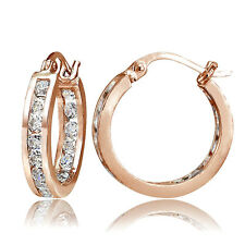 Rose Gold Tone on 925 Silver CZ Inside Out Channel-Set 15mm Round Hoop Earrings