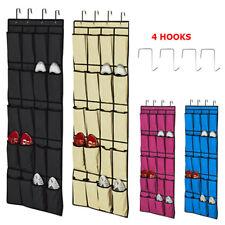 20 de bolsillo de almacenamiento Organizador Colgante Sobre La Puerta Zapato Rack Space Saver 4 Ganchos