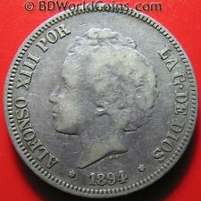 SPAIN 1894 (94) PG-V 5 PESETAS SILVER ALFONSO XIII CHILD HEAD RARE SPANISH COIN!