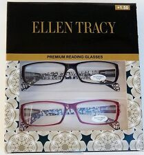 ELLEN TRACY  PREMIUM READING GLASSES READERS +1.50 NEW AUTHENTIC 2 PAIRS BL/RED
