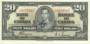 Canada $20 Dollars Currency Banknote 1937 CU