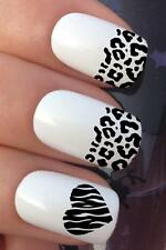 WATER NAIL BLACK LEOPARD PRINT FRENCH TIPS HEART TRANSFERS DECAL STICKERS *692