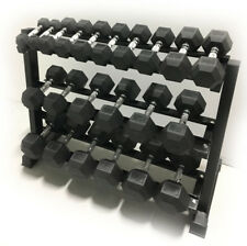 "5-50LB RUBBER HEX DUMBBELL SET + 48"" 3-TIER RACK + 12LB DUMBBELLS BONUS"