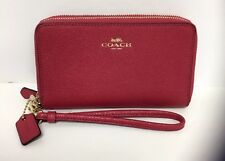 Coach F57467 Double Zip Phone Wallet Wristlet Crossgrain Leather Bright Pink