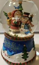 "San Francisco Music Box Co Christmas Santa Snowman Snow Globe ""Share the Warmth"""