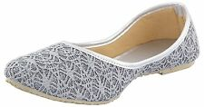 US 9 Indian Traditional Ethnic Mojari In Gray Color For Women Khussa Flat