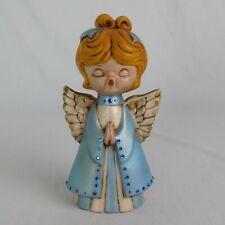 Hand Painted Praying Singing Angel Figurine Golden Hair Blue Dress Rhinestones