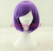 Free shipping Kick Ass Hit Girl Purple Wig Short bob cosplay hair wig +a wig cap