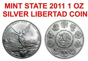 2011 ONE 1 TROY oz fine 999 Silver Mexican Libertad COIN LOW MINTAGE MINT STATE
