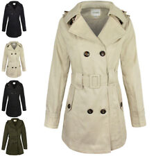 Womens Ladies Double Breasted Mac Belted Coat Canvas Smart Jacket Trench Parka Cream Beige Button Cotton Duffle Toggle Rain Girls School M - UK Size 12