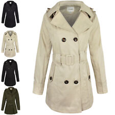Womens Ladies Double Breasted Mac Belted Coat Canvas Smart Jacket Trench Parka Cream Beige Button Cotton Duffle Toggle Rain Girls School XXL - UK Size 18
