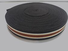 """25 yard Roll Brown, White, Gold and Rust Striped 1 1/2"""" Wide Suspender Elastic"""