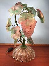 Vintage Grape Cluster Art Nouveau Glass Lamp Pink Green leaves Light