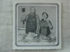 Vintage Photo Ma & Pa Eating Food Feast in Farm House 827