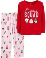 NEW Carter's Girls 2 Piece Holiday Squad Fleece Pajamas PJs 3 4 5 6 7 8 10 12
