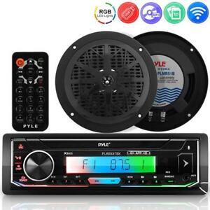 Pyle PLMRK47BK Marine Stereo Receiver Amplifier, Dual 5.25'' Waterproof Speakers