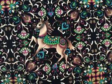 "floral flower horse animal Mythology rayon fabric on black 60"" wide, sold BTY"