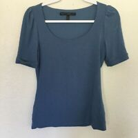 White House Black Market Whbm Womens Blue Short Sleeve Scoop Neck Blouse Top XS