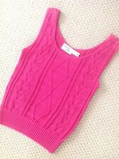 CABLE KNIT HOT PINK SIZE MED TANK 100% COTTON BY DAVID SMITH
