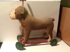 Vintage Toy Dog on Wheels Push along Dog on Wheels over 50 yrs old