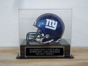 Marshawn Lynch Football Mini Helmet Display Case W/ A Raiders Engraved Nameplate