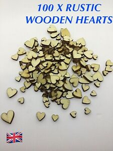 100 X ASSORTED PLAIN SMALL WOODEN HEARTS MIXED SIZES CARD MAKING, CONFETTI CRAFT