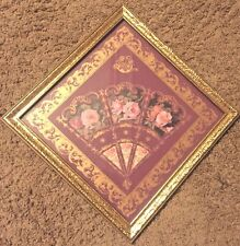 PINK ROSES FLOWER 3D PANEL FAN WALL DECOR GOLD FRAME HOME INTERIORS RETIRED