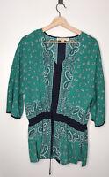 MICHAEL KORS Womens Bandana Short Sleeve Green Boho Blouse Size Medium