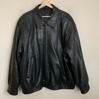 J. Ferrar JF Mens Bomber Jacket Black Lambskin Leather Zip Pockets Lined Size XL