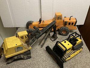 Vtg Orange Tonka Mighty Road Grader, Bulldozer, Excavater part pressed steel