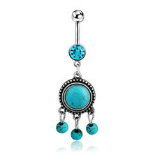 Body Piercing Jewelry For Lady Girls Cute Turquoise Belly Bar Button Navel Ring