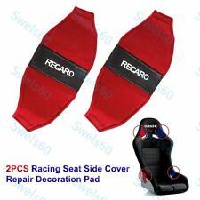 X2 Jdm Recaro Racing Seat Red Pvc Side Cover Repair Decoration Pad Seat Racing