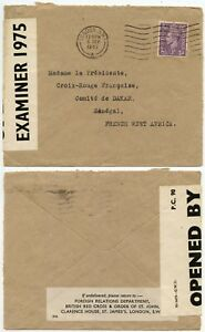 GB to SENEGAL 1943 CENSORED FROM FOREIGN RELATIONS BRITISH RED CROSS
