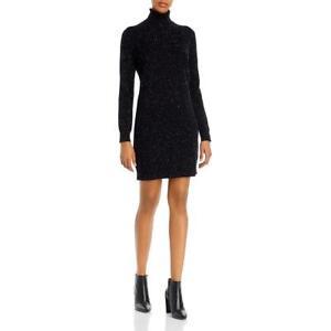 Theory Womens Black Cashmere Turtleneck Ribbed Tirm Sweaterdress M BHFO 2483