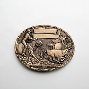 Vintage Award Design Medals Brass Rodeo Belt Buckle Horse Cowboys Bull Lasso