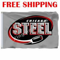 Chicago Steel Logo Flag USHL Hockey League League 2018 Banner 3X5 ft