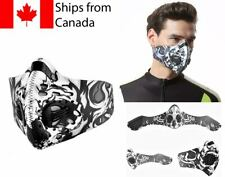 Cloth Face mask w/ filter Washable Cycling Face covering Unisex Adult Black & Wh