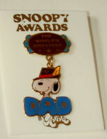 Vtg Aviva Snoopy Awards Peanuts Worlds Greatest DAD Father Pin 70-80s New NOS