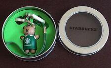 NIB Starbucks Thailand Barista Bear Green Apron Keychain / Key Ring (No card)