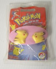 Original Vintage 2000 Tomy Pokemon Girls Hair Clip Pink Yellow featuring Pikachu